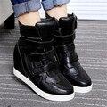 Mujeres Botines Altura Aumento de Las Señoras Tacones Cuñas Botas zapatos casuales Negro blanco High Top Mujer Tobillo tamaño de Arranque 35-40