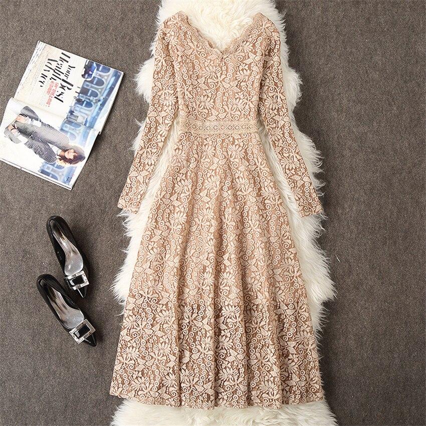 2019 Autumn Dress Women Long Sleeve Lace Dress Big Size M-3XL Dress Elegant Lady Long V-neck Party Dressess Vestidos платье W564