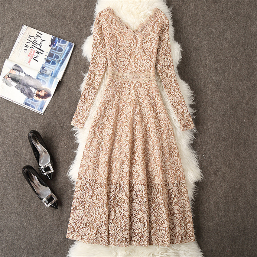 2019 Autumn Women Long Sleeve Lace Dress Big Size M 3XL Dress Elegant Lady Long V neck Dressess Vestidos Winter Bottomings WZ564