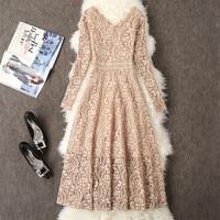 2019 Autumn Dress Women Long Sleeve Lace Dress Big Size M 3XL Dress Elegant Lady Long V neck Party Dressess Vestidos платье W564