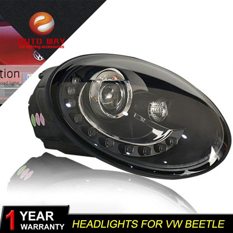 Car Styling Head Lamp case for VW Beetle 1998-2013 Headlights LED Beetle Headlight DRL Lens Double Beam Bi-Xenon HID цена в Москве и Питере