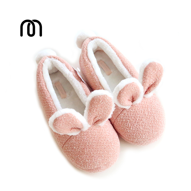 все цены на Millffy new warm winter cute adorable bunny slippers rabbit super soft warm anti- slip house wear bedroom shoes