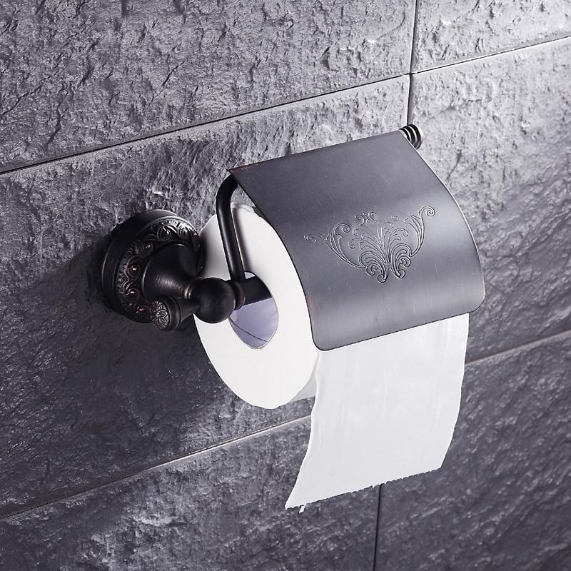 European copper bathroom roll paper rack vintage, Antique ORB toilet holder shelf black, Retro kitchen tissue