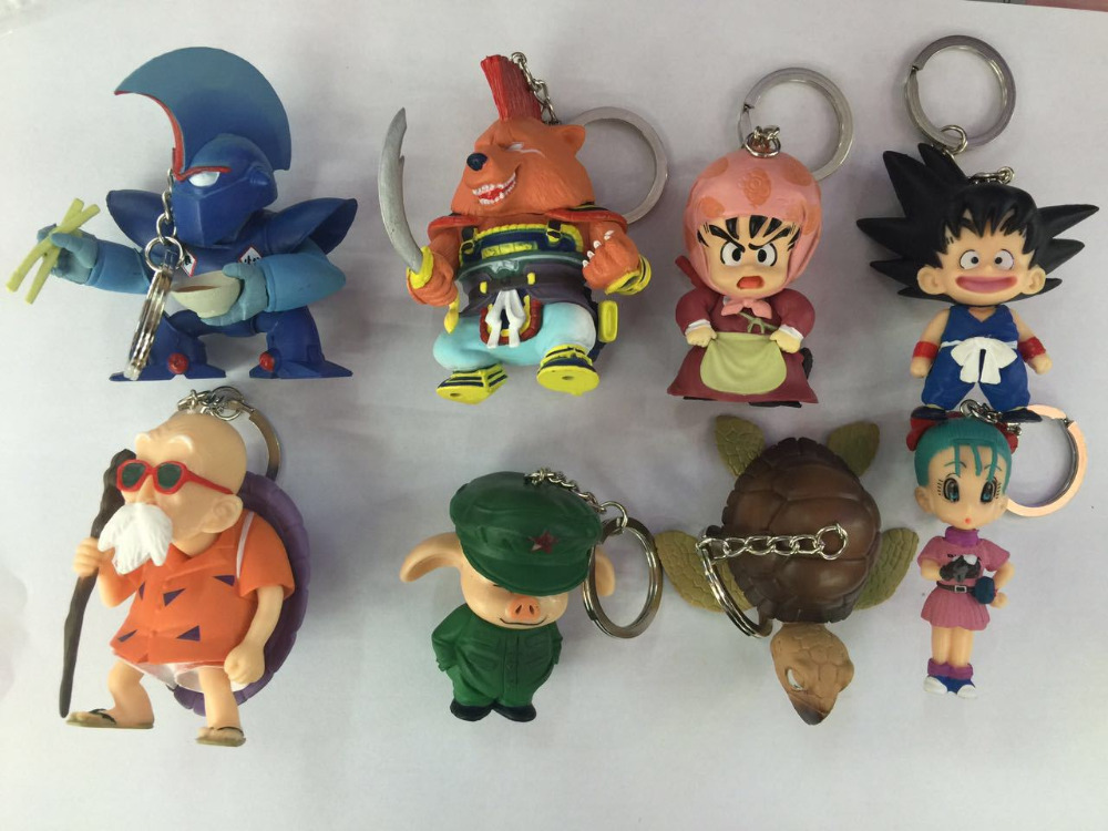 8pcs/set Keychain Dragon Ball Z Goku Action Figure PVC Collection figures toys for christmas gift brinquedos iron man 3 action figure mini 6pcs set light action figures pvc brinquedos collection figures toys for christmas gift