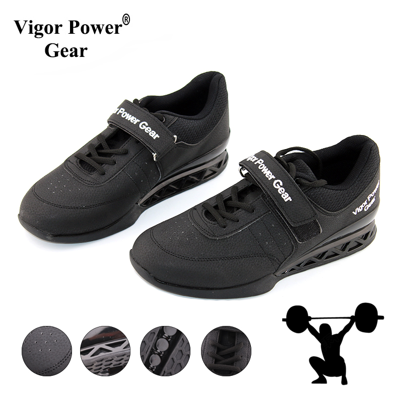 Vigor Powe Gear High Quality Weight Lifting Shoes For Suqte Power Lifting Exercise Training Leather Non Slip Weightlifting Shoe image
