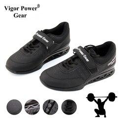 Vigor powe engrenagem de alta qualidade sapatos de levantamento de peso para suqte levantamento de potência exercício treinamento couro não deslizamento sapatos de levantamento de peso