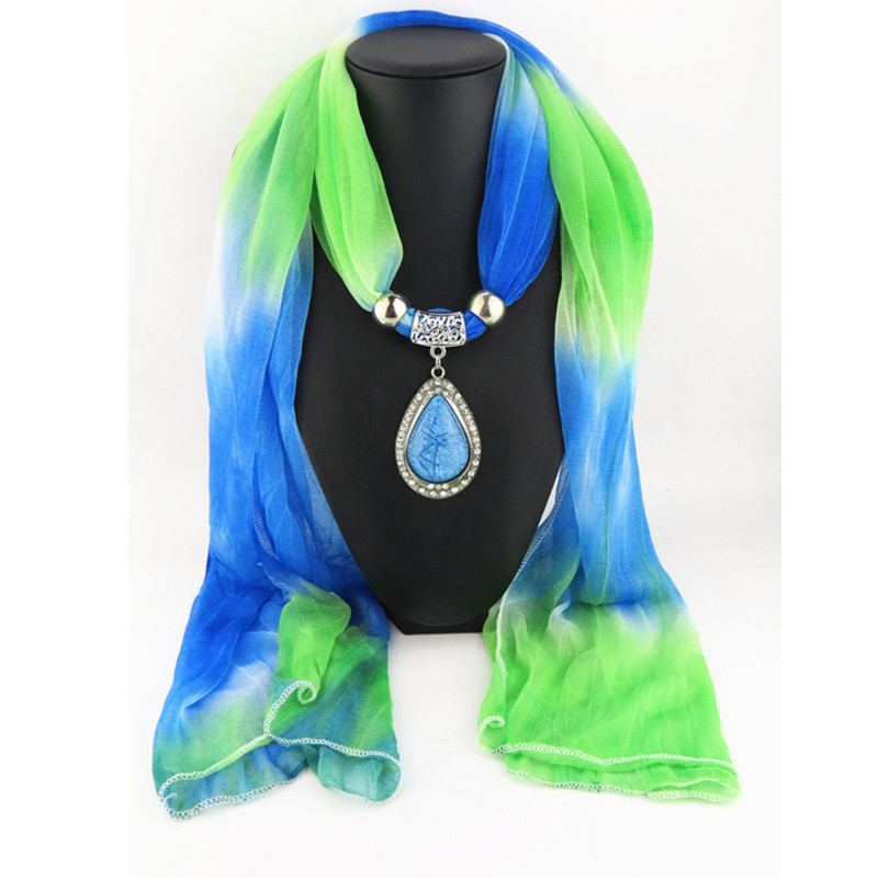 New Winter Scarf Women Necklaces Scarf Silk Scarf Charms Beads Water Drop Jewelry Pendant Scarf Fashion Gradient Color Shawl