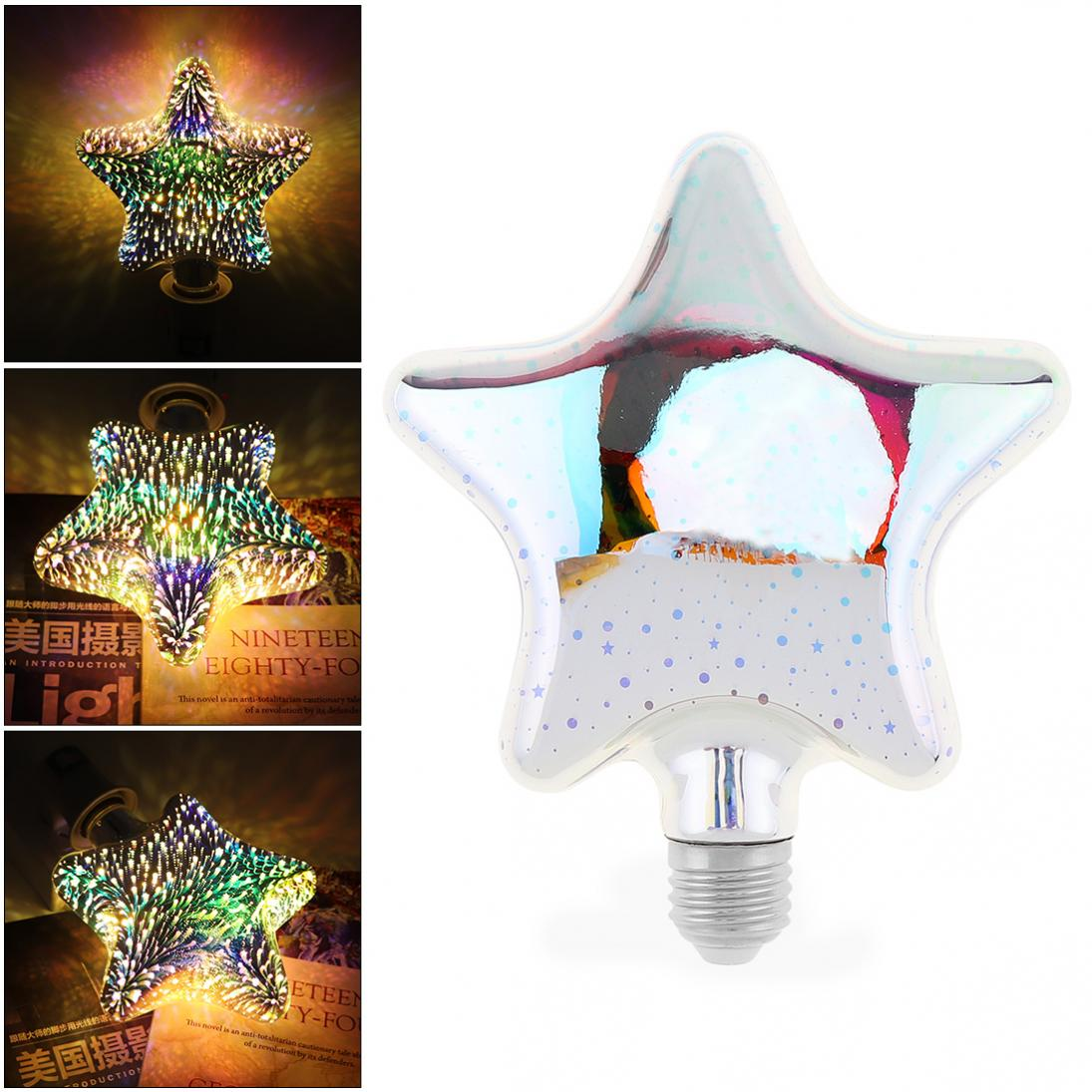 Color Small Pentagonal 3d Decoration Fireworks Bulb With 360 Degree Luminescence Angle For Holiday/christmas/interior Decoration To Have Both The Quality Of Tenacity And Hardness