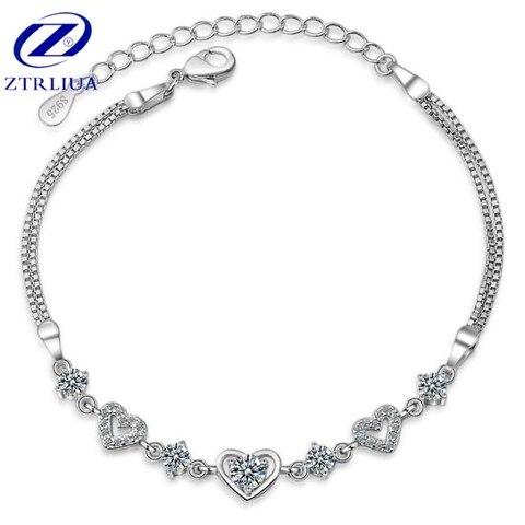 Браслет из серебра 925 пробы с кристаллами