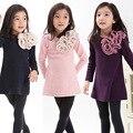 2016 Autumn girls dress girls big flowers New Kids bottoming shirt long sleeve t-shirt 3-7 years navy