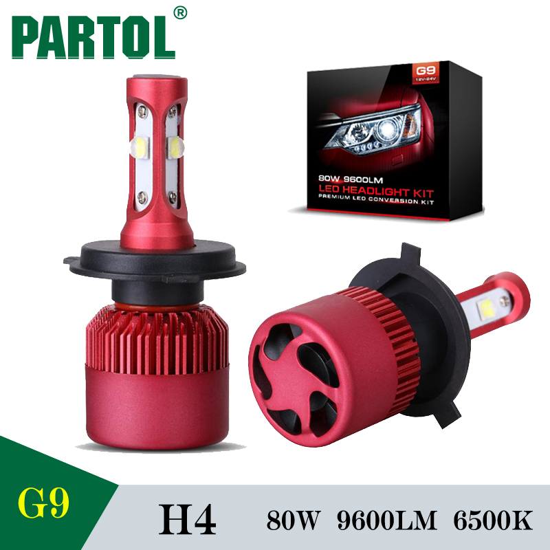Partol G9 H4 LED Car Headlight Bulbs Work Lights 80W 9600LM 6500K Hi Lo Beam Auto LED Headlamp Conversion Kit Fog Light 12V 24V