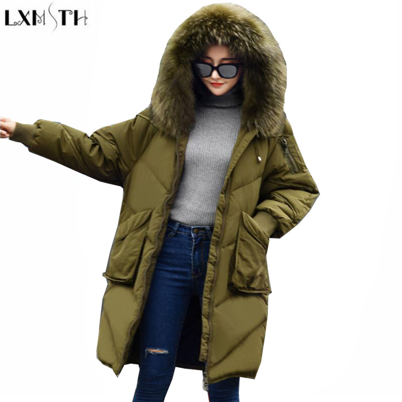 LXMSTH New Woman Winter Coats And jackets With Fur Korean Long Thick Down Women Loose Hooded ladies Parka jacket Army Green down jacket women 2017 korean long sleeve ladies down jackets larger medium long down women s winter jacket with a hood e0646