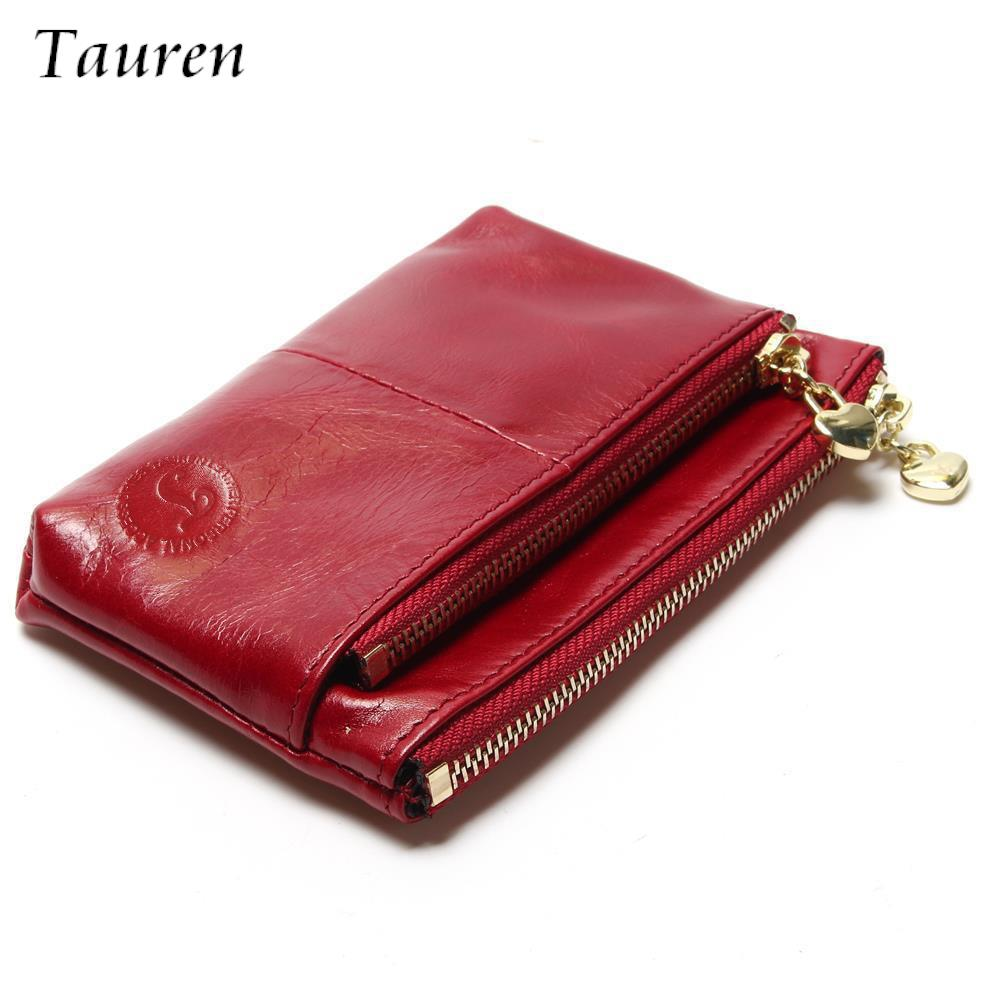New TAUREN Small Wallet Genuine Leather Women Mini Wallet Oil Wax Leather Coin Purse Coin Credit Card Holder With Metal Ring allen roth brinkley handsome oil rubbed bronze metal toothbrush holder