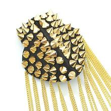 2016 Recommend Men Women Punk Gothic Tassel Spike Rivet Pin Brooch Epaulet Shoulder Board Gold