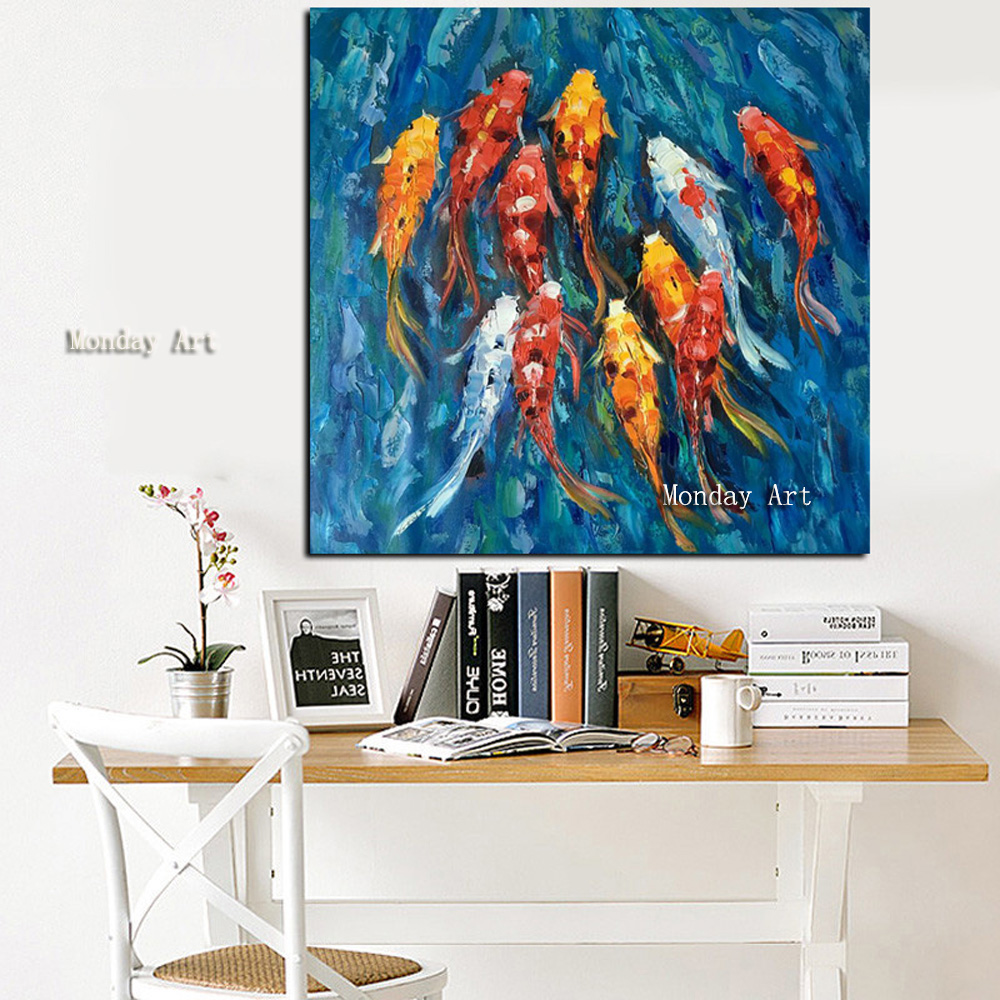 41 Wall-Art-Picture-Traditional-Chinese-Abstract-Landscape-Oil-Painting-Print-Nine-Koi-Fish-on-Canvas-Poster (1)