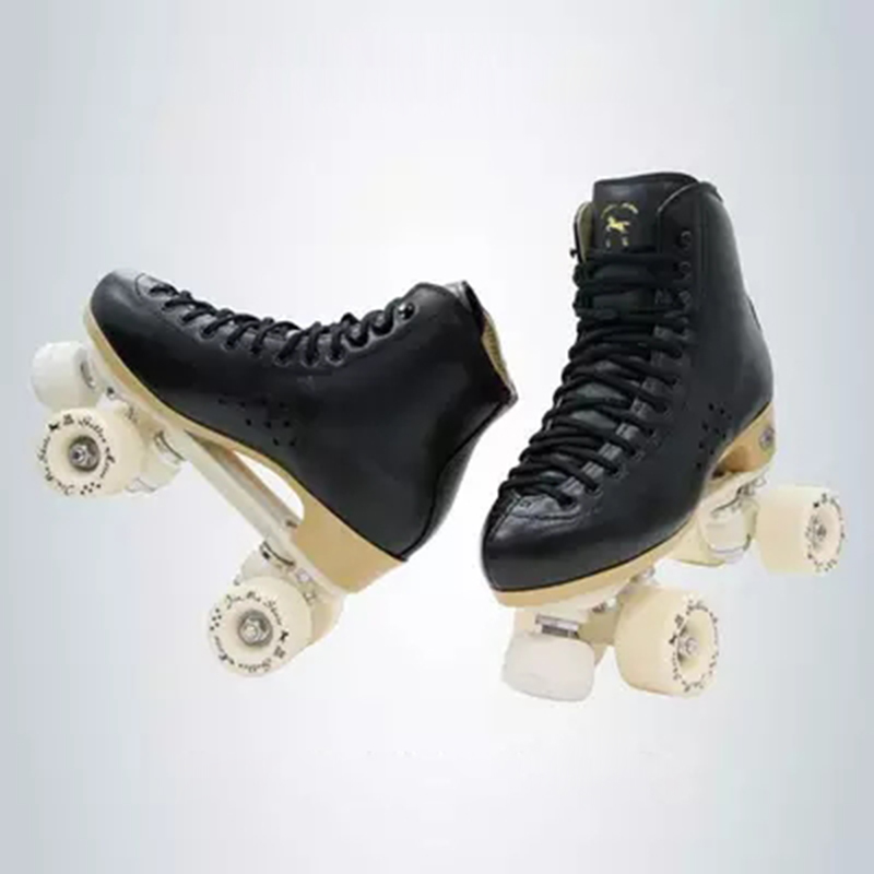 Image 3 - Original Golden Horse Professional Roller Skates two Line Shoes Double Row Skating PU Wheel Cowhide Leather Plastic Steel PlateSkate Shoes   -