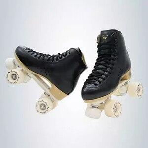 Image 3 - 원래 골든 호스 전문 롤러 스케이트 두 라인 신발 더블 행 스케이트 PU 휠 쇠가죽 채찍으로 치다 가죽 플라스틱 강판