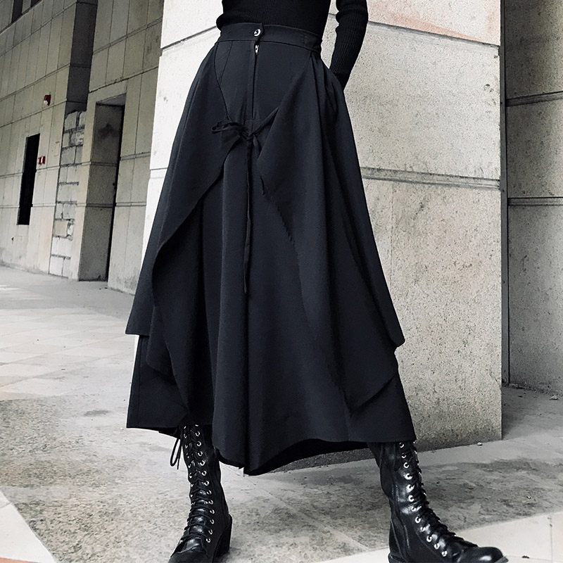 2019 Spring Summer Fashion Casual Retro Designer Neutral Black Wind Wide Leg Pants / Modis Female Skirt Pants Tide Skirt