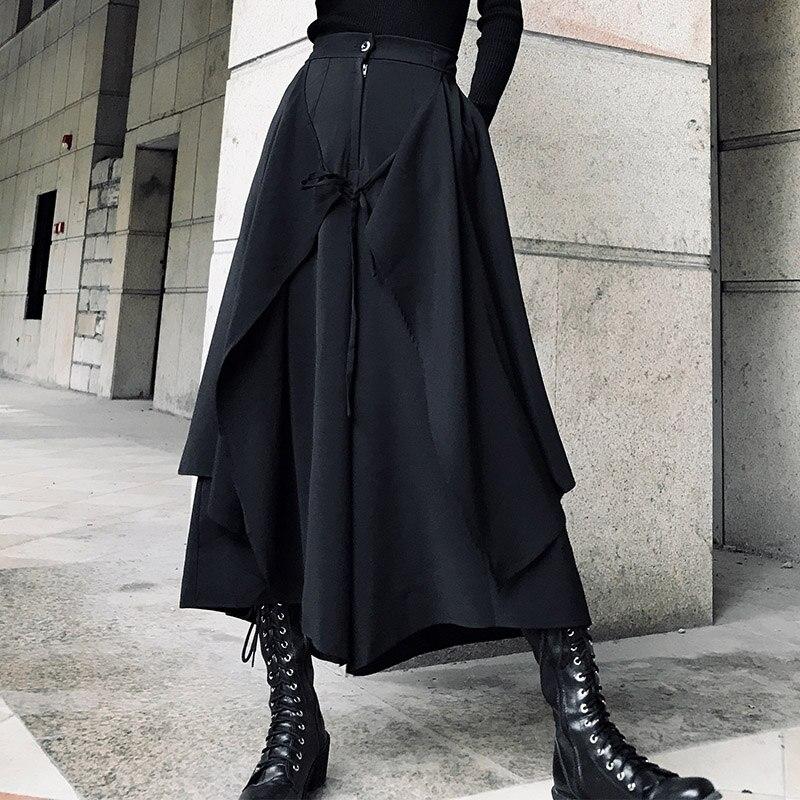 Frauen Kleidung & Zubehör Treu 2019 Frühling Designer Original Hong Kong-stil Dark Kalten Wind Breite Bein Hosen Weibliche Rock Hosen Hosen Neutral Casual Hosen Flut Freigabepreis