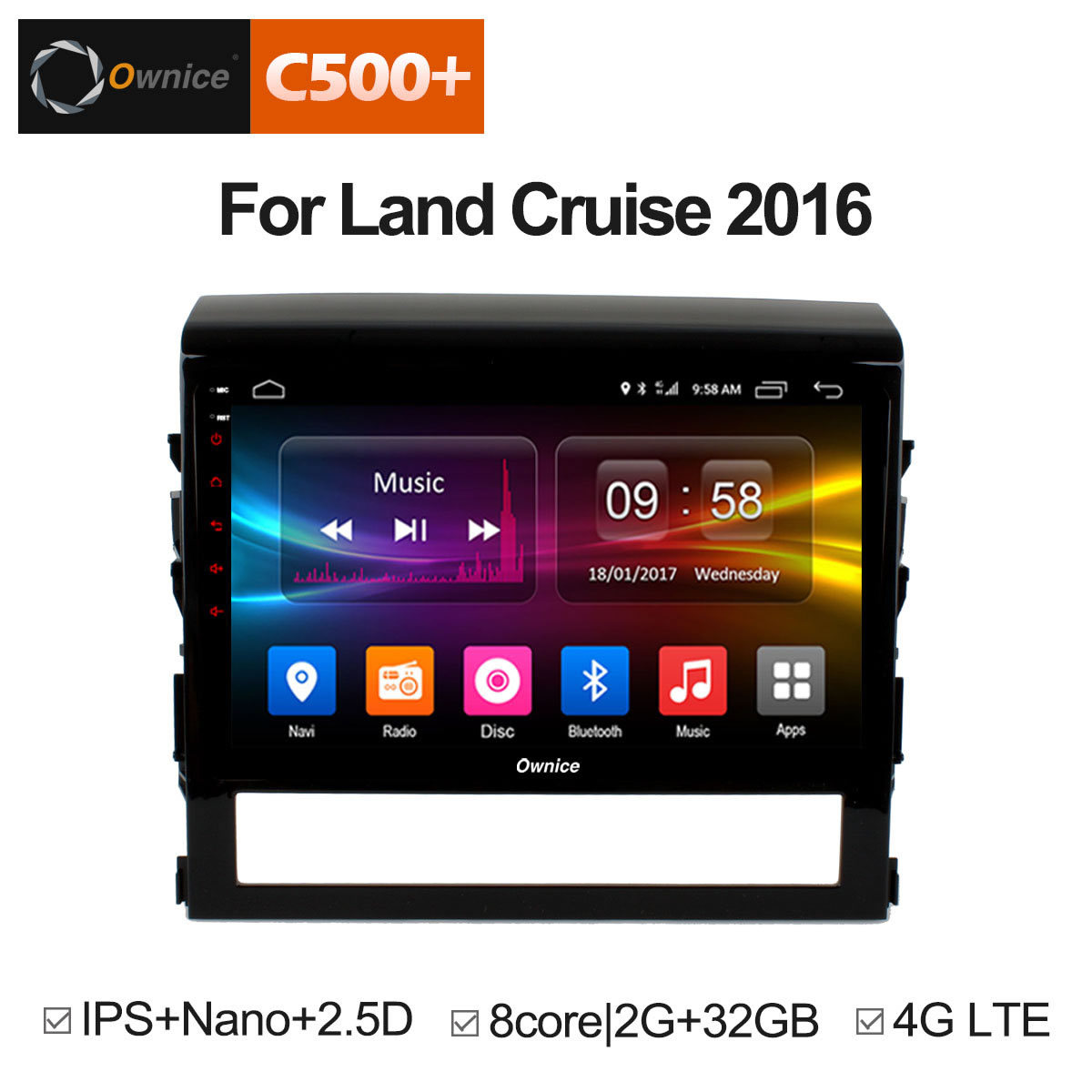 Ownice C500+ G10 android 8.1 octa core car dvd player for Toyota land cruiser 200 LC200 2016 gps radio 4G LTE IPS 2.5D Nano dab+