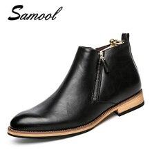 män stövlar äkta läder mode klassiska affärskontor formella fotkängor män skor man casual handgjorda runda tå zip kx3