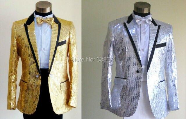 Custom Made Slim Fit Sequins Groom Tuxedos White Black Gold Red Groomsmen 2015 Men Wedding Suits