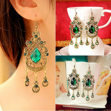 European and American retro style palace green water drop earrings exaggerated female long section of large earrings for women