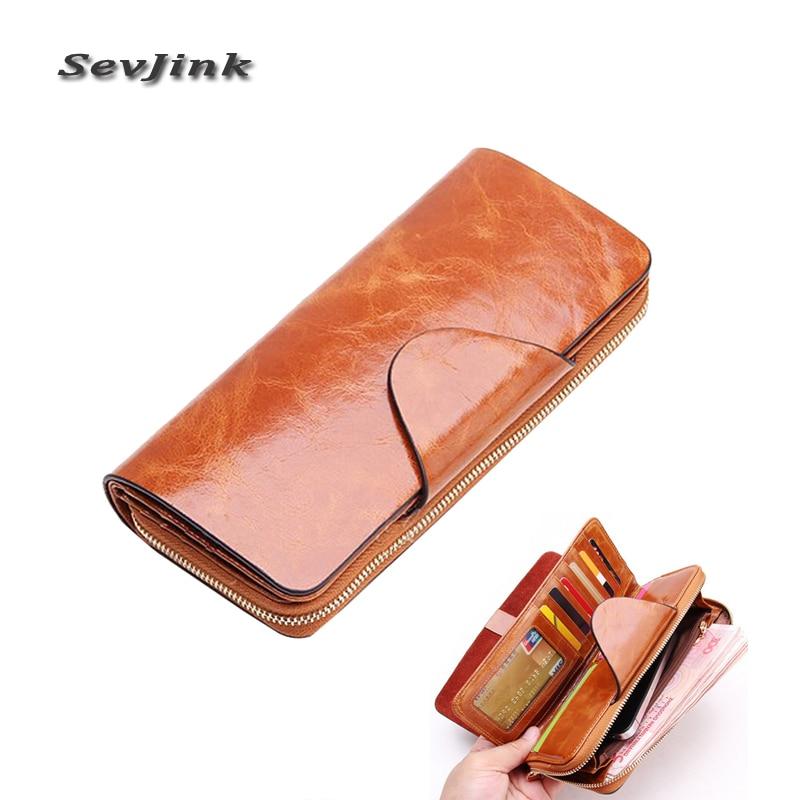 Мода перший шар коров'ячої жіночий гаманці застібку-блискавку з натуральної шкіри довгий дизайн чоловіків / жінок гаманці Carteira Feminina гаманці  t