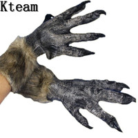 Hot Sale 1 Pair Big Werewolf Grey Wolf Paws Claws Cosplay Gloves For Halloween Party Costume Accessory Women Men Masquerade Toy