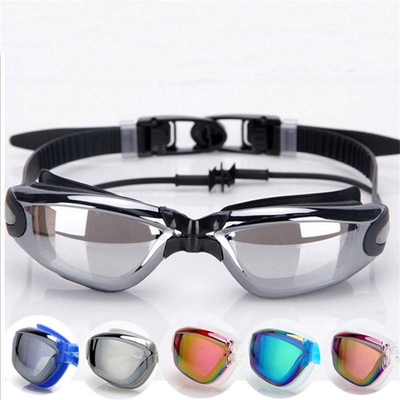Anti-niebla UV400 deporte gafas de natación con el auricular impermeable natación gafas hombres mujeres chapado gafas de natación de silicona