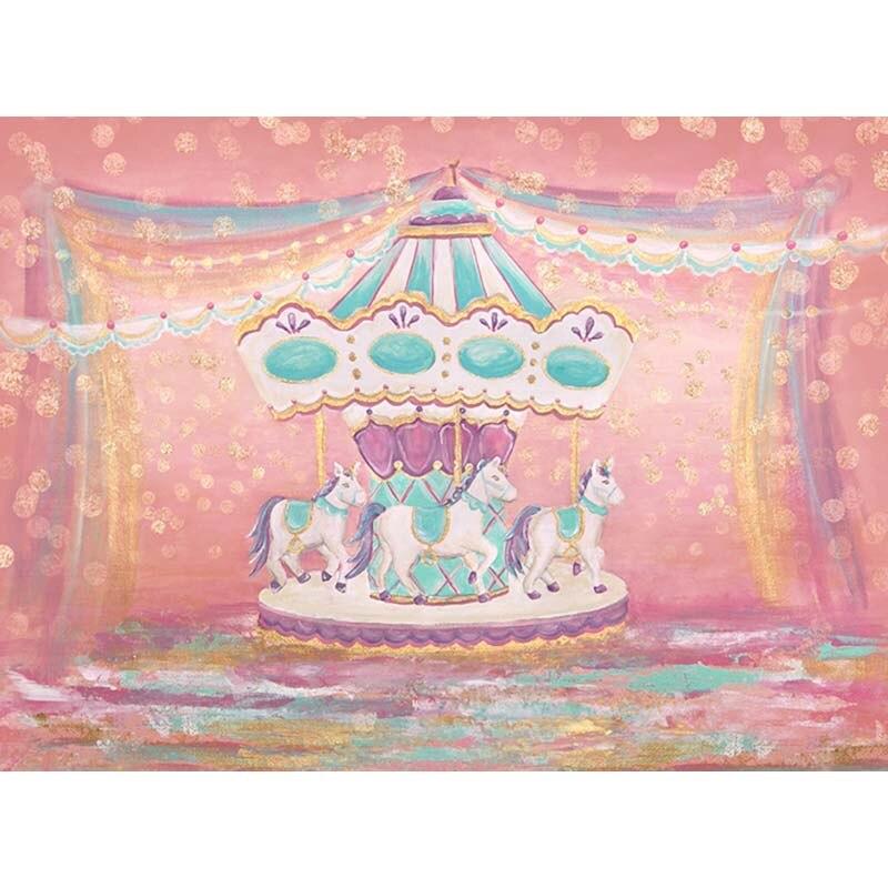 Oxford Dream rose carrousel ruban taches photographie toile de fond nouveau-né anniversaire bébé douche fête arrière-plans Photo personnalisés