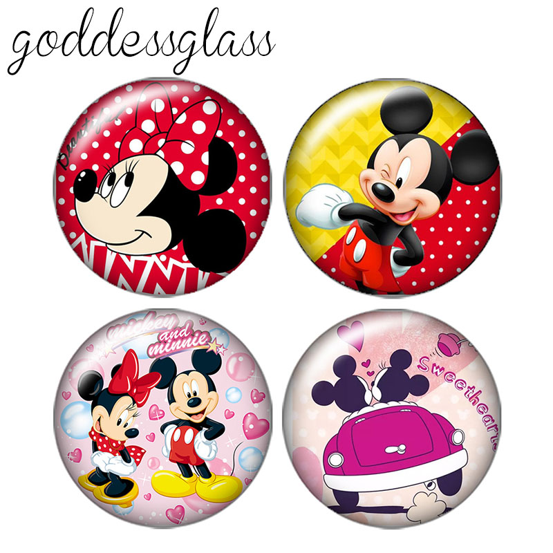 Lovely Micky Maus 10pcs 12mm/18mm/20mm/25mm Round Photo Glass Cabochon Demo Flat Back Making Findings ZB0437