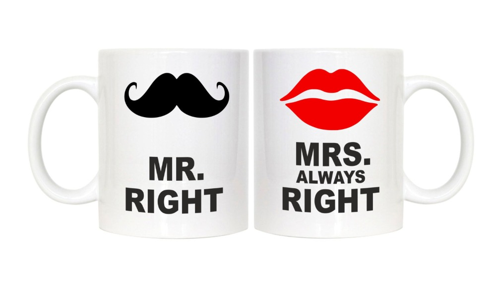 Mr <font><b>Right</b></font> And Mrs Always <font><b>Right</b></font> <font><b>wife</b></font> husband boyfriend girlfriend coffee mugs cups home decal porcelain tea cups milk beer