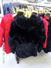 Long with hood rabbit long sleeve real fur coat