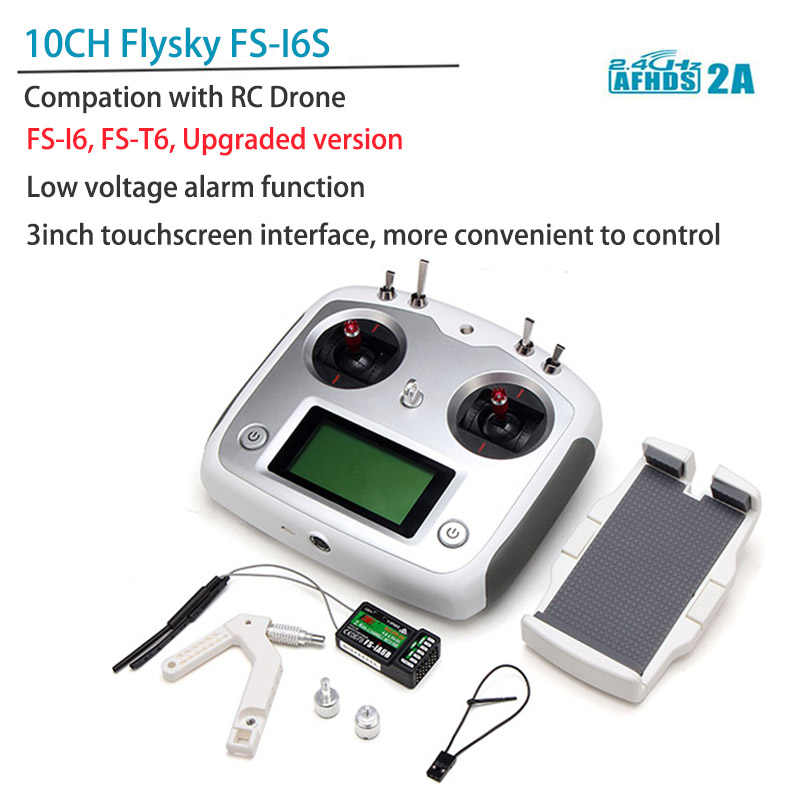 Flysky FS-I6S 10ch 2 4G AFHDS 2A touch screen RC Remote Control w/ FS-iA6B  Receiver For RC Helicopter Drone Quadcopter & Holder