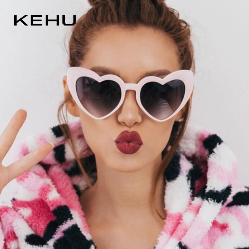 KEHU Retro Windproof Glasses New Style Heart Shape Sunglasses Women Fashion Sun Protection Sunglasses Heart Cat Eye Design K9323