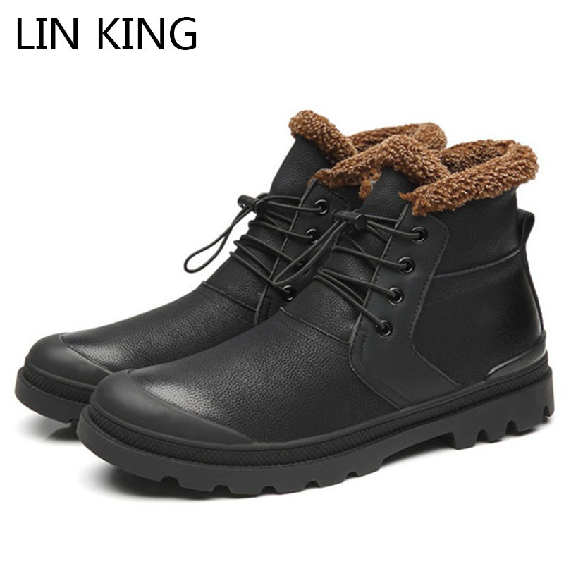LIN KING Fashion Black Men Winter Boots Warm Plush Boots Lace Up Work Safety Boots Man High Top Motorcycle Boots For Male
