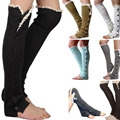 1 Pair Winter 2016 New Girls Women's Crochet Knit Button Lace Trim Leg Knee Warmers Toppers Boot knee Socks Charms dropshipping