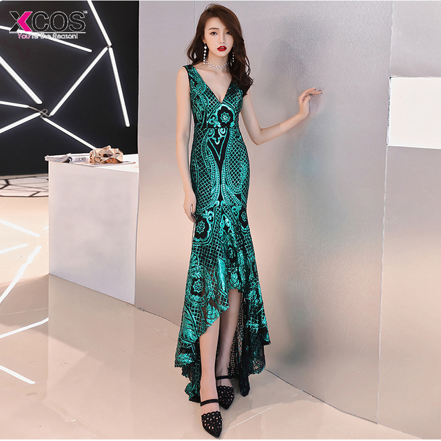 Sexy Sequined Mermaid Long Prom Dresses Under 50 Elegant Champagne