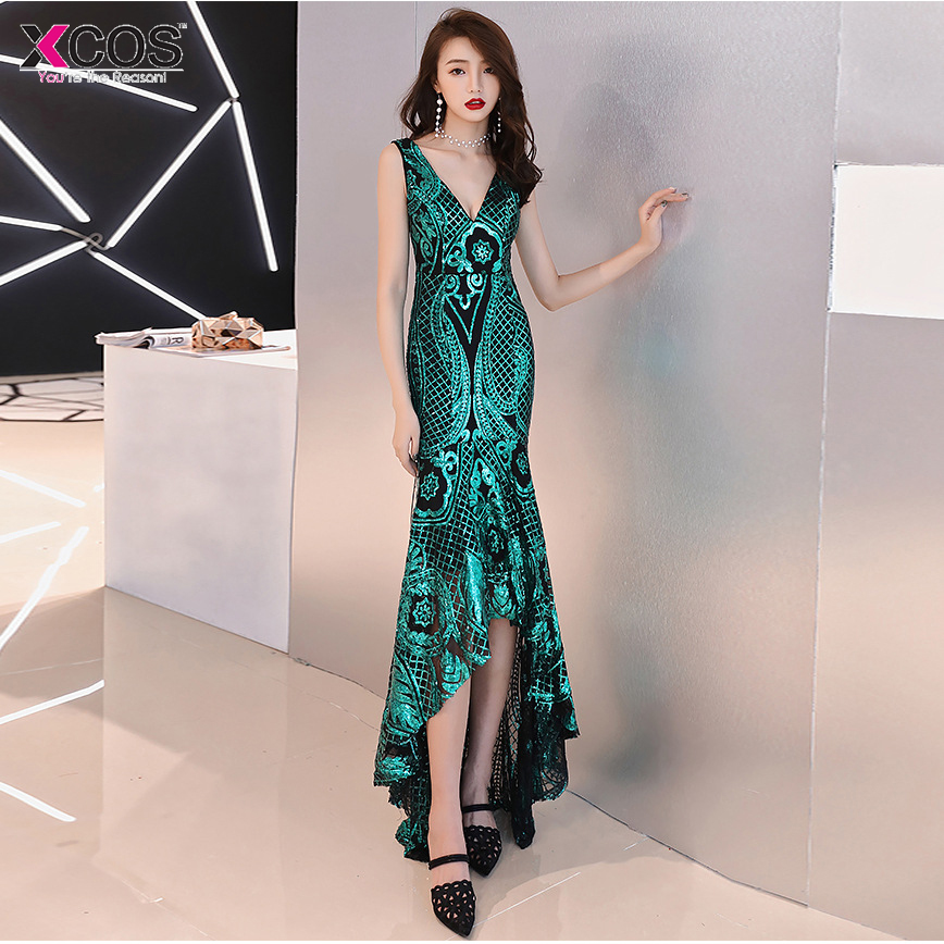 Sexy Sequined Mermaid Long   Prom     Dresses   under 50 Elegant Champagne Green Evening Party   Dresses   Vestido de Festa Longo