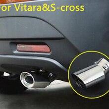 Для Suzuki Vitara S-cross- автомобильный глушитель из нержавеющей стали для стайлинга, внешний конец трубы для украшения, выхлопная труба