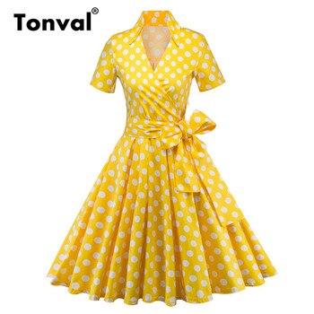 51e3670dde1 Tonval ретро в горошек рокабилли желтое платье Для женщин короткий рукав V  шеи линии платья Для летних вечеринок 50 s Винтаж платье