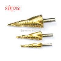 3pcs Set HSS Step Drill Bit Set Metric Spiral Flute Core Drill Bit Titanium Coated Cone