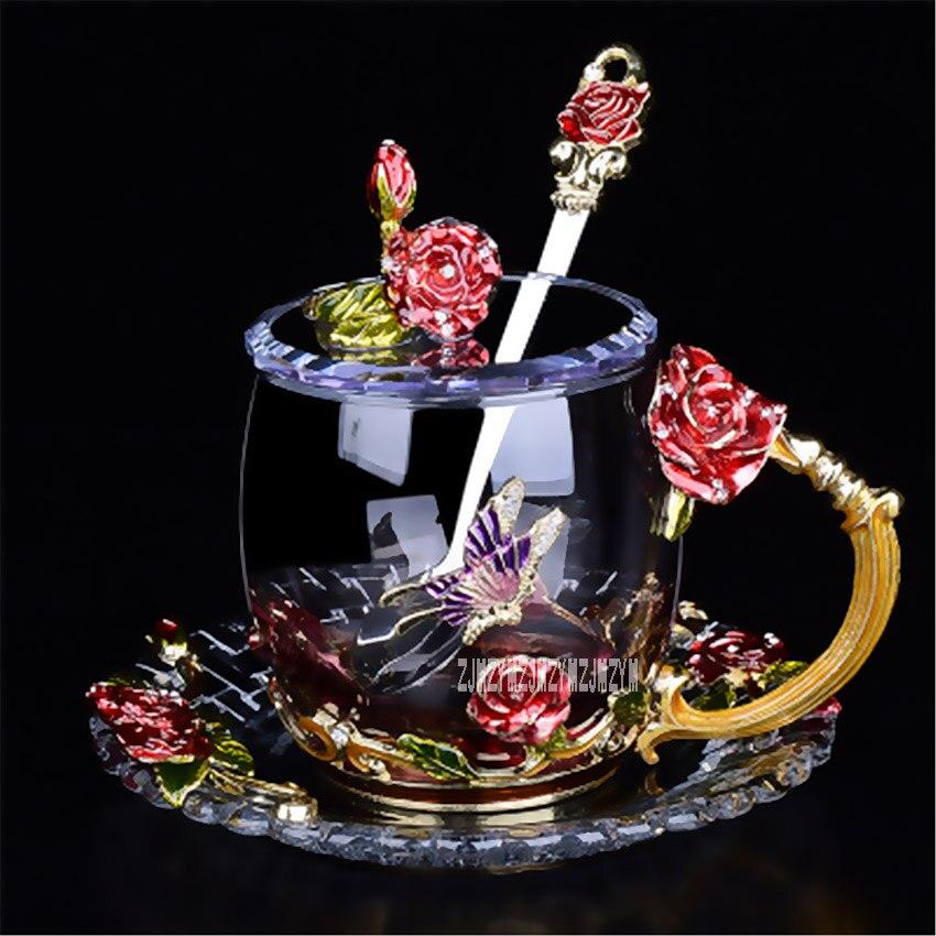 Creative Vintage Rose Émaux Couleur Cristal Tasse En Verre Ensemble Classique Cristal Fleur Thé Tasse En Verre résistant à La Chaleur Tasse de Café 330 ml