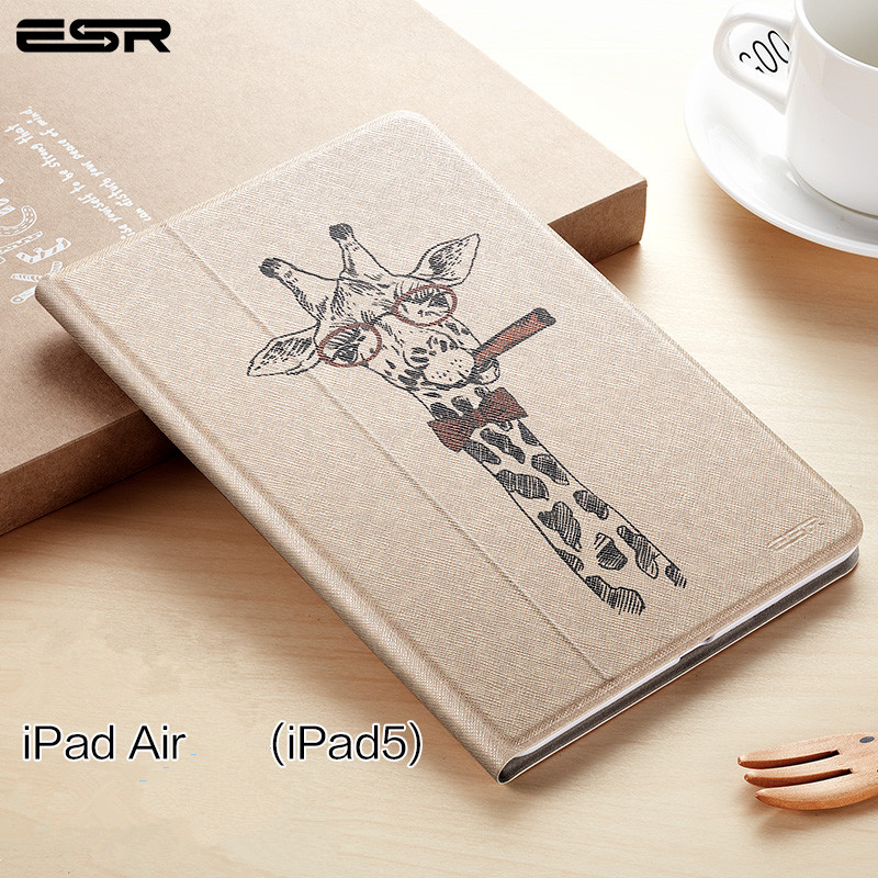 ESR Illustration Case for IPad Air Cover PU Leather Ultra Slim Light Weight Trifold Smart Cover Case for IPad Air for IPad 5
