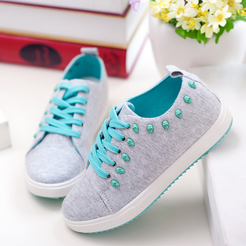 women Skulls Revits canvas sneakers new June Rose Neon yellow sky blue  sweetness girl shoelace sport shoes rubber flats