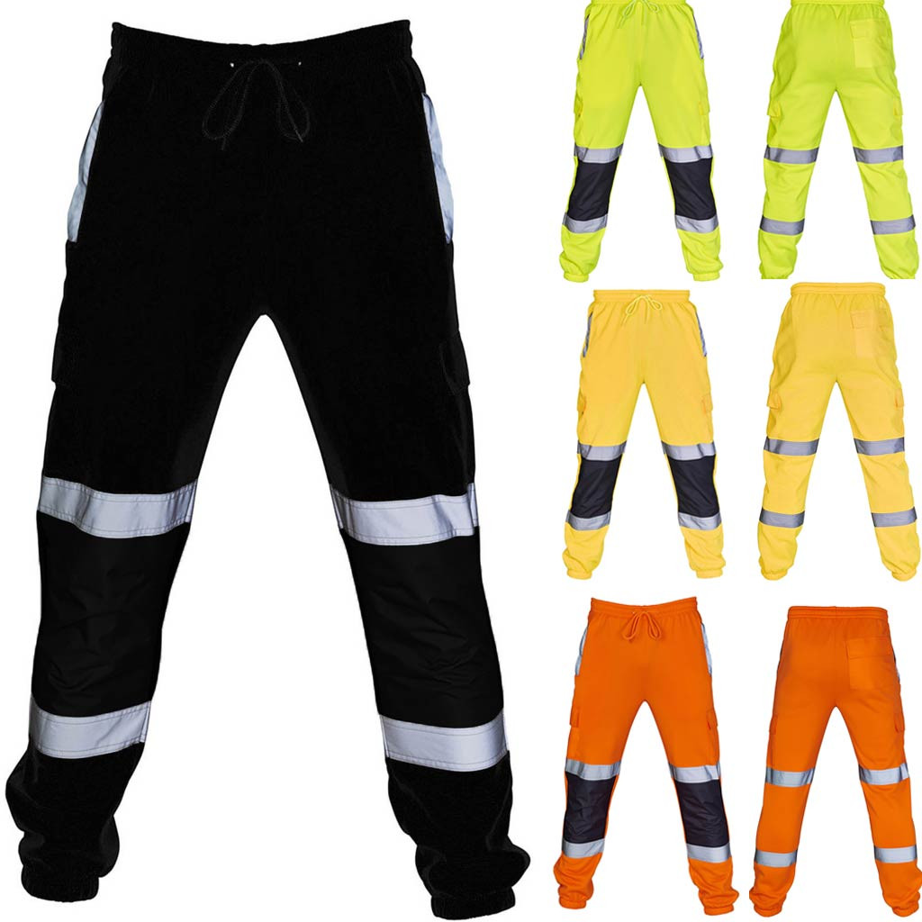 Men Pants 3M Reflective Road Work High Visibility Overalls Casual Pocket Trousers Work Casual Trouser Pants Sweatpants