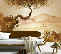 Personnalisé 3d murale, dessinés à la main rétro encre peinture papel de parede, hôtel restaurant salon canapé TV mur chambre papier peint