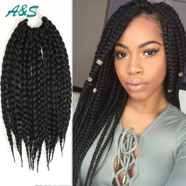 Us 7 45 Lovely 3x Box Braids Hair Weave Ombre Braiding Hair 12strands Pack 85g Pack Full Box Braids Crochet Hair Natural Black Faux Locs On
