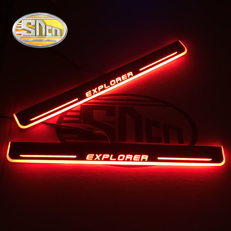 SNCN 2PCS Acrylic Moving LED Welcome Pedal Car Scuff Plate Pedal Door Sill Pathway Light For Ford Explorer 2015 2016 2017 2018